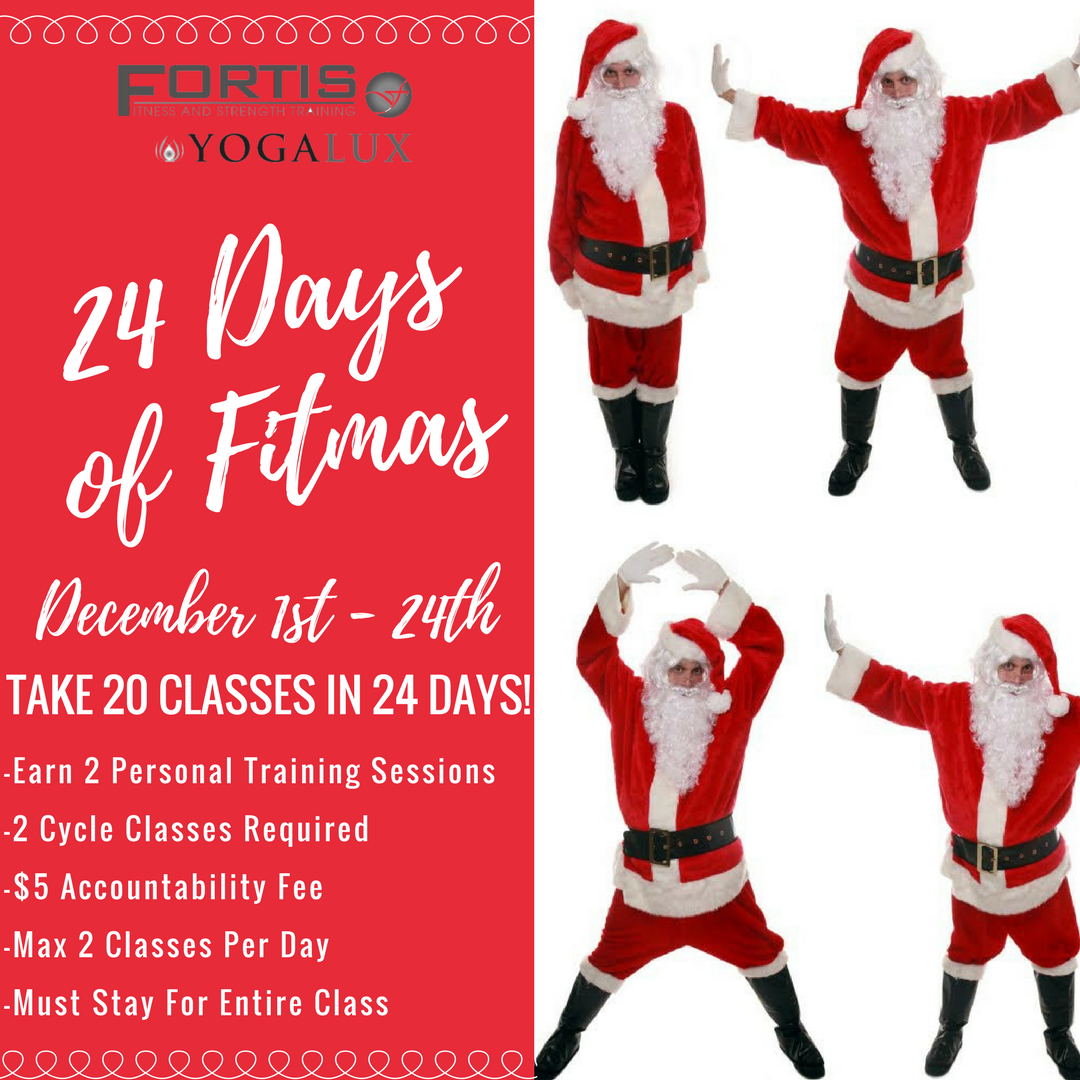 24 Days of FITMAS - Class Challenge. Take 20 classes in 24 days